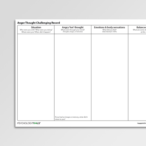 Anger Thought Challenging Record Cognitive Behavioral Therapy CBT worksheet