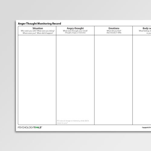 Anger Thought Monitoring Record Cognitive Behavioral Therapy CBT worksheet