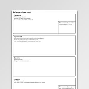 Behavioral Experiment Activation Worksheet PDF | Psychology Tools