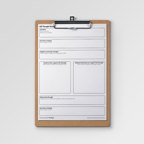 Cognitive Behavioral Therapy CBT Thought Record worksheet portrait