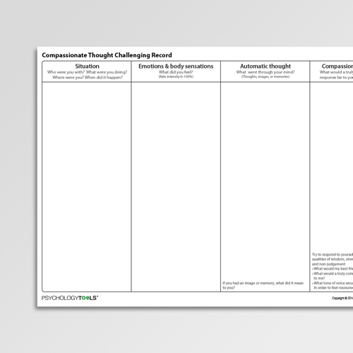 Compassionate Thought Challenging Record Cognitive Behavioral Therapy CBT worksheet