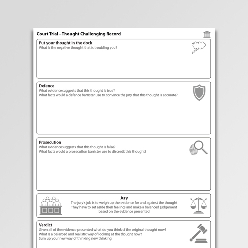 Court Trial Thought Challenging Record Cognitive Behavioral Therapy CBT worksheet