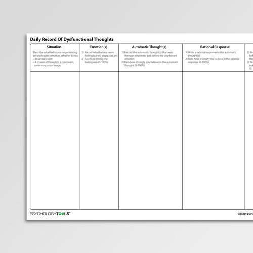 Daily Record of Dysfunctional Thoughts Cognitive Behavioral Therapy CBT worksheet