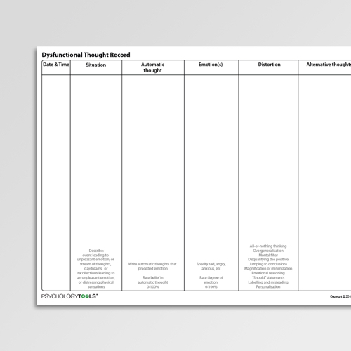 Dysfunctional Thought Record Cognitive Behavioral Therapy CBT worksheet