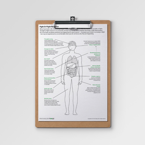 CBT information handout explaining the fight or flight response and activity of the sympathetic nervous system