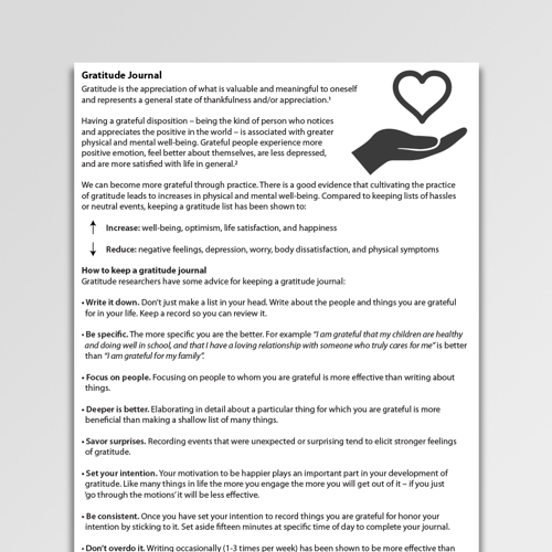 Gratitude Journal Worksheet Pdf Psychology Tools