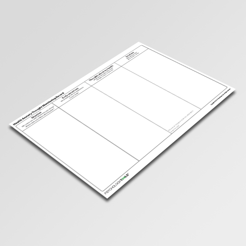 Health Anxiety Thought Monitoring Record Cognitive Behavioral Therapy CBT worksheet
