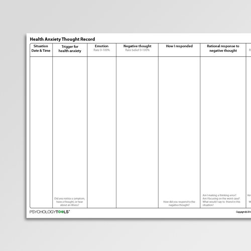 Health Anxiety Thought Record Cognitive Behavioral Therapy CBT worksheet