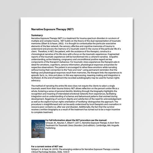 Narrative Exposure Therapy Net Worksheet Pdf Psychology Tools