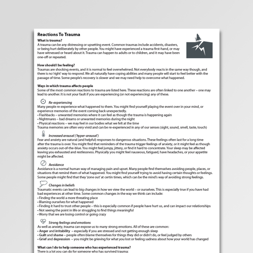 Reactions To Trauma Worksheet PDF | Psychology Tools