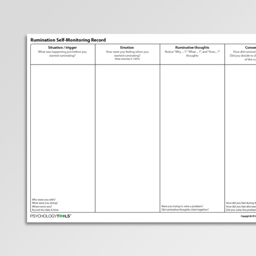 Repetitive Thought Rumination Worksheets Psychology Tools