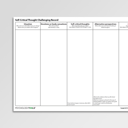 Self Critical Thought Challenging Record Cognitive Behavioral Therapy CBT worksheet