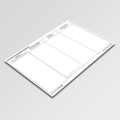 Self Critical Thought Monitoring Record Cognitive Behavioral Therapy CBT worksheet