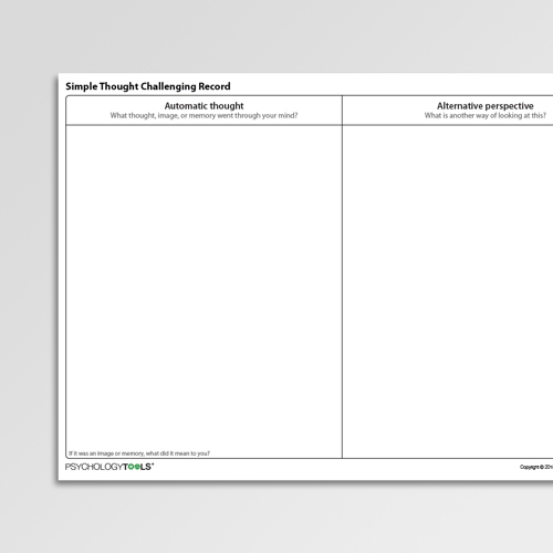 Simple Thought Challenging Record Cognitive Behavioral Therapy CBT worksheet