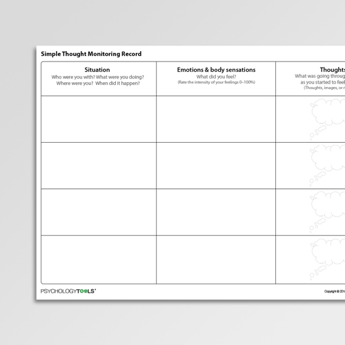 Simple Thought Monitoring Record Cognitive Behavioral Therapy CBT worksheet