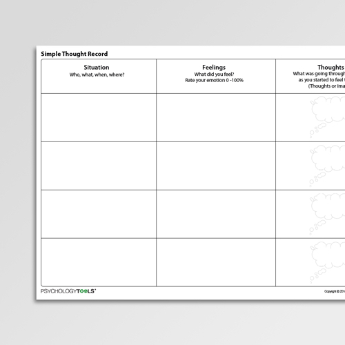 Simple Thought Record Cognitive Behavioral Therapy CBT worksheet