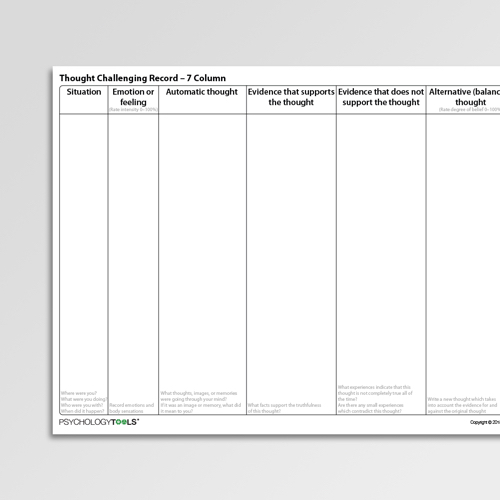 Thought Challenging Record 7 Column Cognitive Behavioral Therapy CBT worksheet