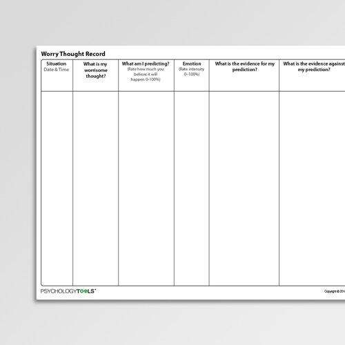 Worry Thought Record Cognitive Behavioral Therapy CBT worksheet