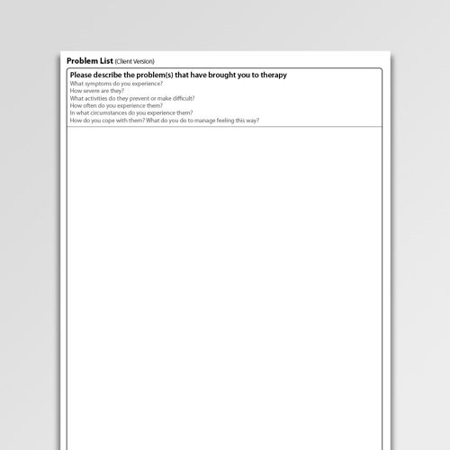 CBT worksheet to help clients and therapists identify problems and generate a problem list
