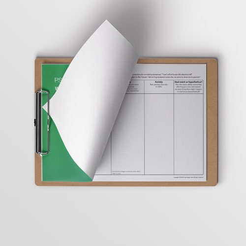 Worry Diary CBT worksheet for Generalised Anxiety Disorder (GAD) on a clipboard