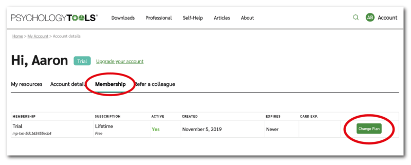 How to upgrade your Psychology Tools account