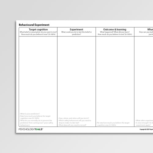 Behavioral Experiment CBT Worksheet