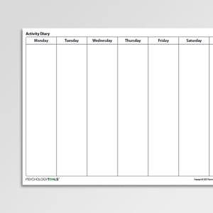 Activity Diary Worksheet with no time intervals